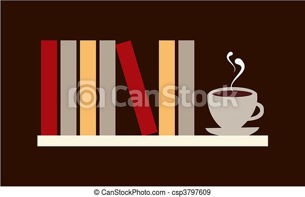 图书馆, 架子, 书, 杯, 咖啡, 矢量, 可供使用