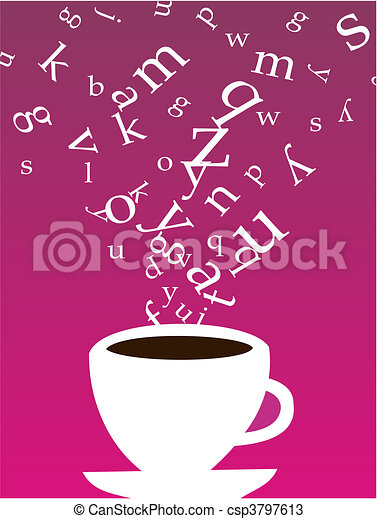 Cup of coffee with letters - csp3797613