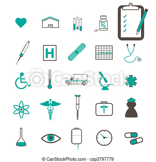 Image of various medical related teal icons. - csp3797779