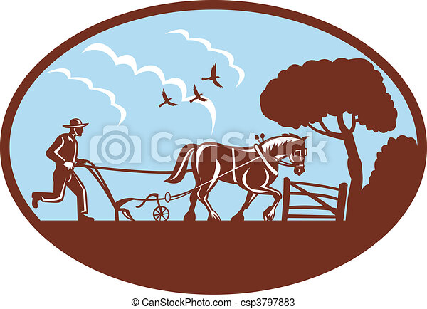 farmer and horse plowing field - csp3797883