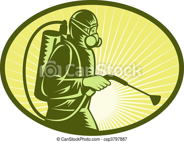 Pest control exterminator worker spraying side view - csp3797887