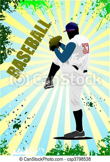 Baseball player poster. Vector ill - csp3798538