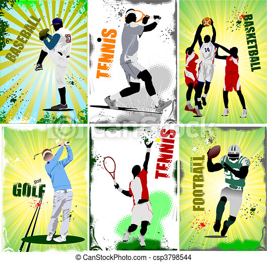 Six sport posters. Football, baseb - csp3798544