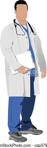 Medical doctor with stethoscope. V - csp3798554