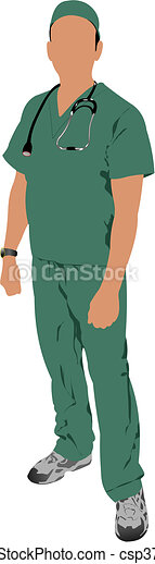 Medical doctor with stethoscope - csp3798562