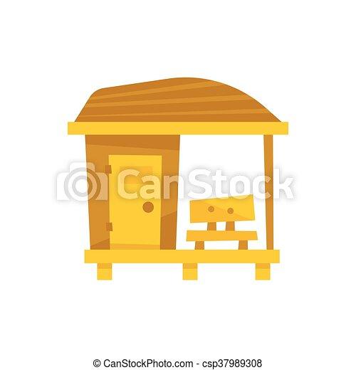 Clipart vecteur de bois petit plage cabine banc for Plan cabine de plage en bois