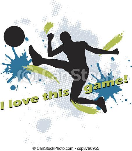 football design of man kicking socc - csp3798955