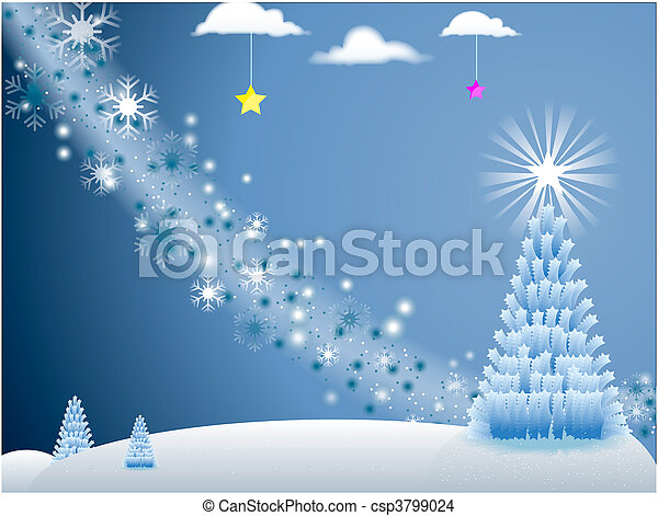 White Holiday Scene with snowflakes and Christmas Tree with stars on blue background  - csp3799024