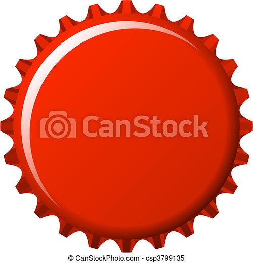 aqua button badge in red crown cap  - csp3799135