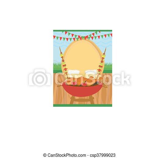 vektor illustration von grillfest, party, einladung - barbecue, Einladungen