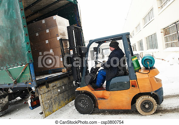 warehouse forklift loader work - csp3800754
