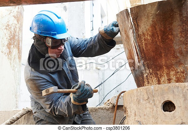 manual worker in action with hammer - csp3801206