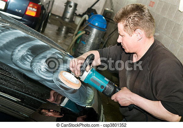 stock foto von auto polieren arbeiter auto sorgfalt arbeit maschine csp3801352. Black Bedroom Furniture Sets. Home Design Ideas