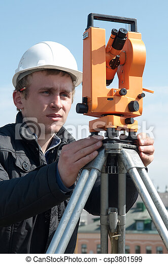 Surveyor with transit level equipment - csp3801599