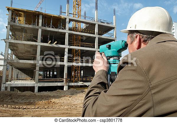 Surveyor with transit level equipment - csp3801778