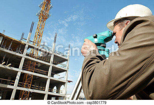 Surveyor with transit level equipment - csp3801779