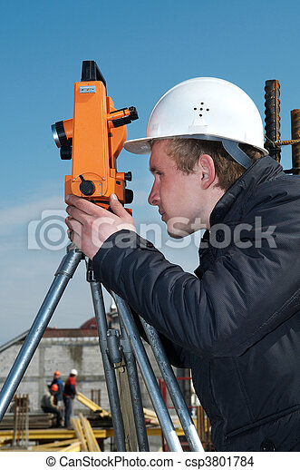 Surveyor with transit level equipment - csp3801784
