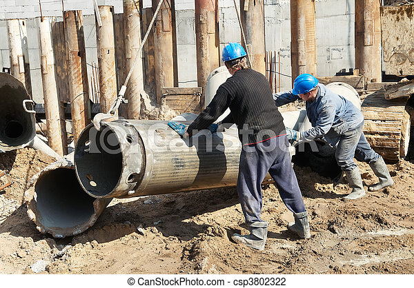 builders with equipment for piling - csp3802322