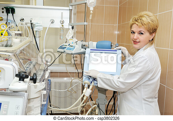 medic doctor with equipment for lung ventilation - csp3802326