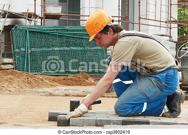 sidewalk pavement construction works - csp3802419