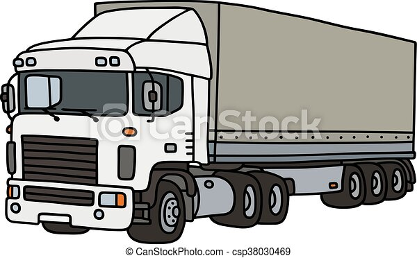Clip art vecteur de couverture blanc semi remorque - Dessin de camion semi remorque ...