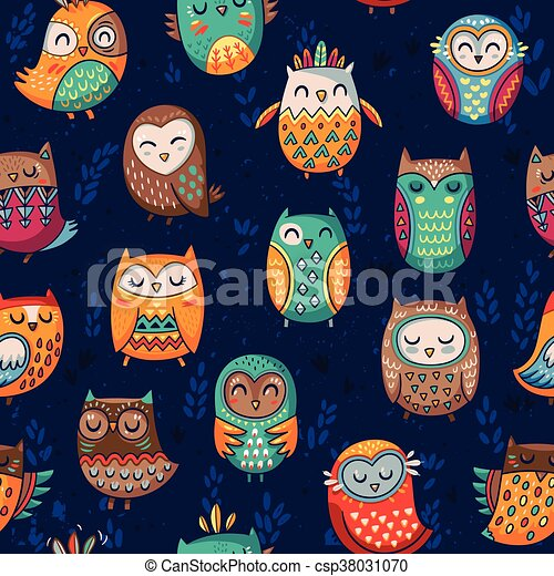 Seamless pattern with tribal owls - csp38031070