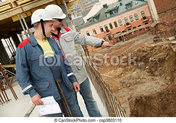 Engineers builders at construction site - csp3803110