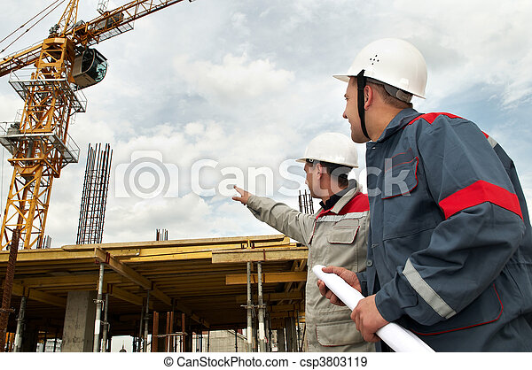 Engineers builders at construction site - csp3803119