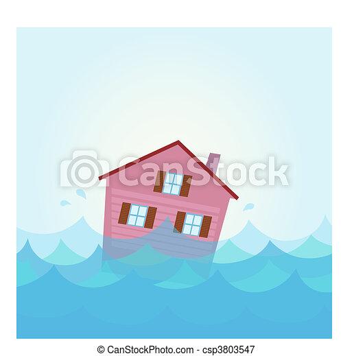 ... Wasser, Haus, Ueberschwemmung, Unter