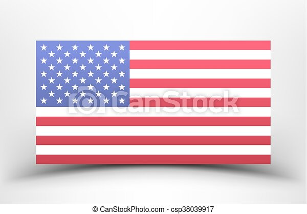 American national flag on a white background with shadow. - csp38039917