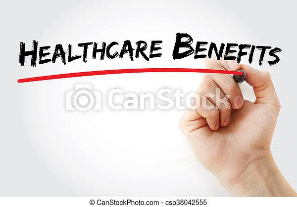 Hand writing Healthcare Benefits with marker, health concept background