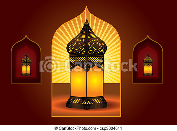 Colorful intricate arabic lantern for eid or ramadan celebration - csp3804611