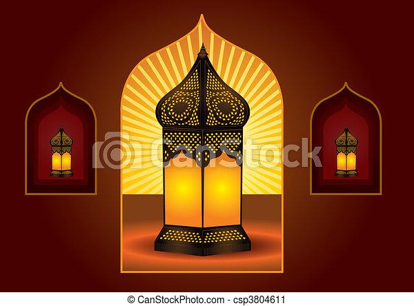 Colorful intricate arabic lantern for eid or ramadan celebration - csp3804611