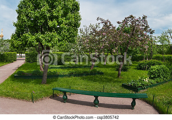 Apple trees garden in spring time. Bench near a tree. Nobody - csp3805742