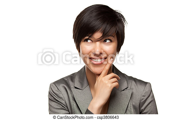 Pretty Smiling Multiethnic Young Adult Woman with Eyes Up and Over Isolated on a White Background. - csp3806643
