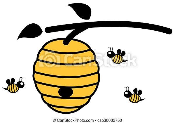 Vecteur clipart de abeilles ruche abeilles ruche - Dessin de ruche d abeille ...