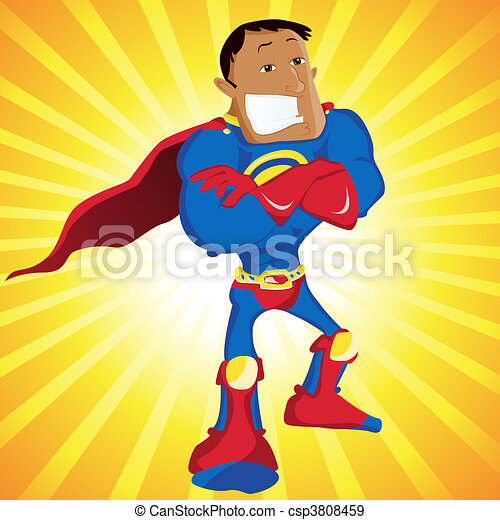 Black Super Man Hero Dad. - csp3808459