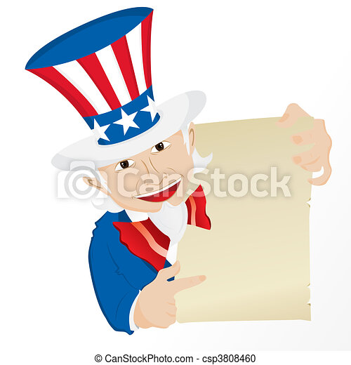 Uncle Sam Holding Sign.  - csp3808460