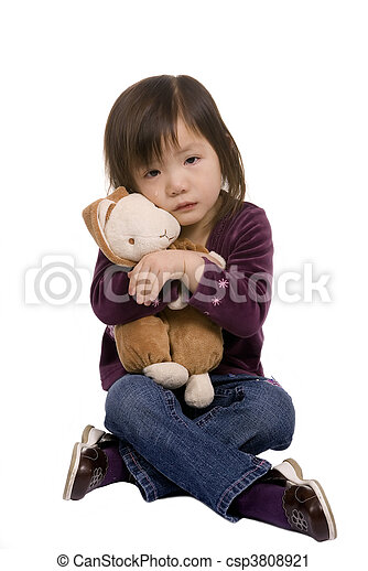Childhood Series 4 (crying with bunny) - csp3808921