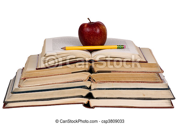 Educational Concepts (open books with apple) - csp3809033