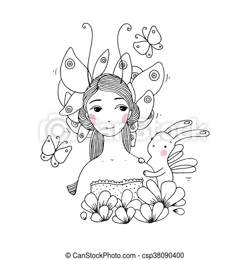 Beautiful young girl, butterflies and hare - csp38090400