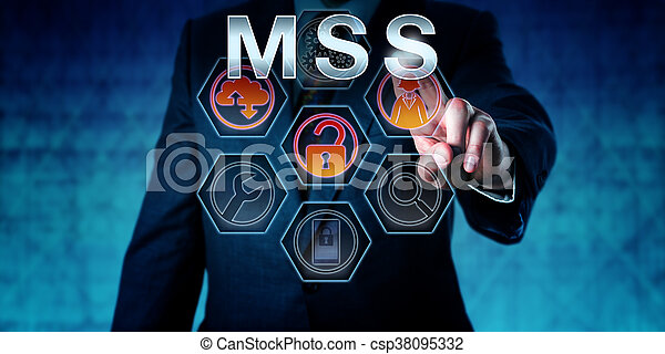 IT security expert touching MSS on an interactive virtual control screen. Business risk metaphor and computer network security concept for Managed Security Services outsourced to service providers.