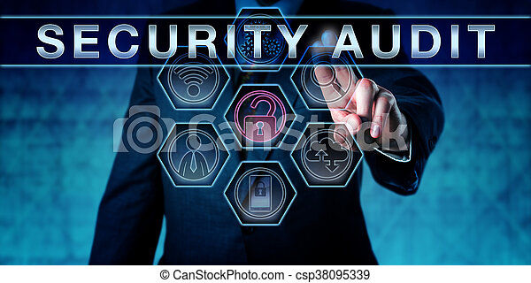 Corporate IT manager pushing SECURITY AUDIT on an interactive virtual touch screen monitor. Business challenge metaphor and information security concept for vulnerability scan and network analysis.