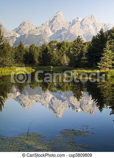 Teton Peaks and Beaver Pond - csp3809809