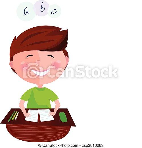 Happy smiling girl in classroom - csp3810083