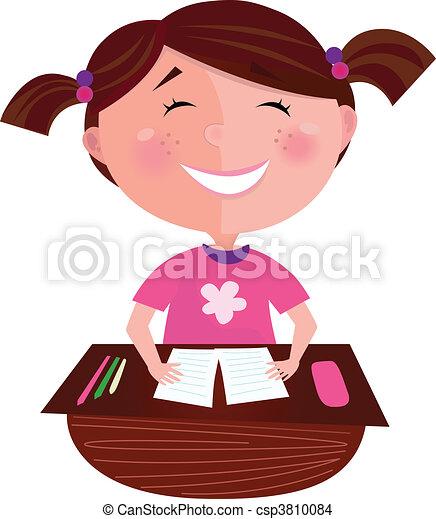 Happy smiling girl in school - csp3810084