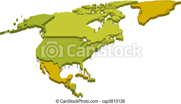 north america 3d map - csp3810126