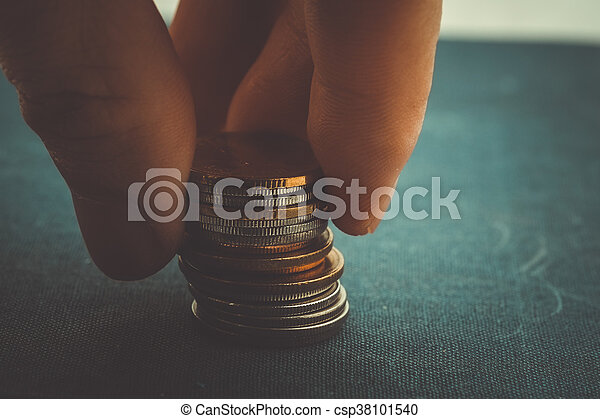 save money for investment concept Hands holding money with filter effect retro vintage style