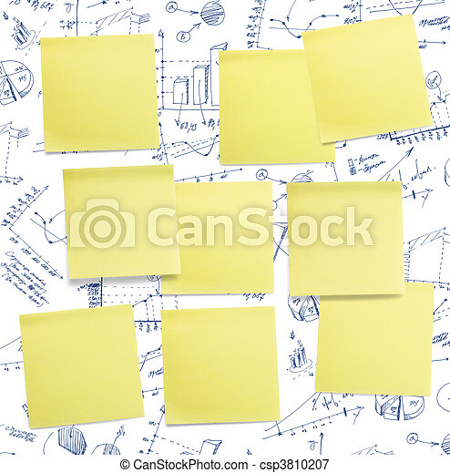 A set of office/work related rainbow coloured paper post-it notes. - csp3810207