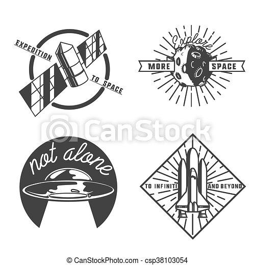 Vintage space emblems - csp38103054